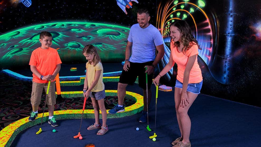 There's only one 18-hole, all indoor, all blacklight mini golf course in Pigeon Forge and you can find it here at LazerPort!