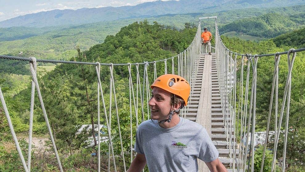 Walk across our sky high swinging bridge for views that will go for miles in all directions