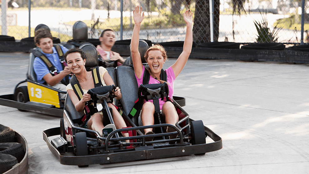 Racing go-karts at SpeedZone Fun Park will be the highlight of your vacation