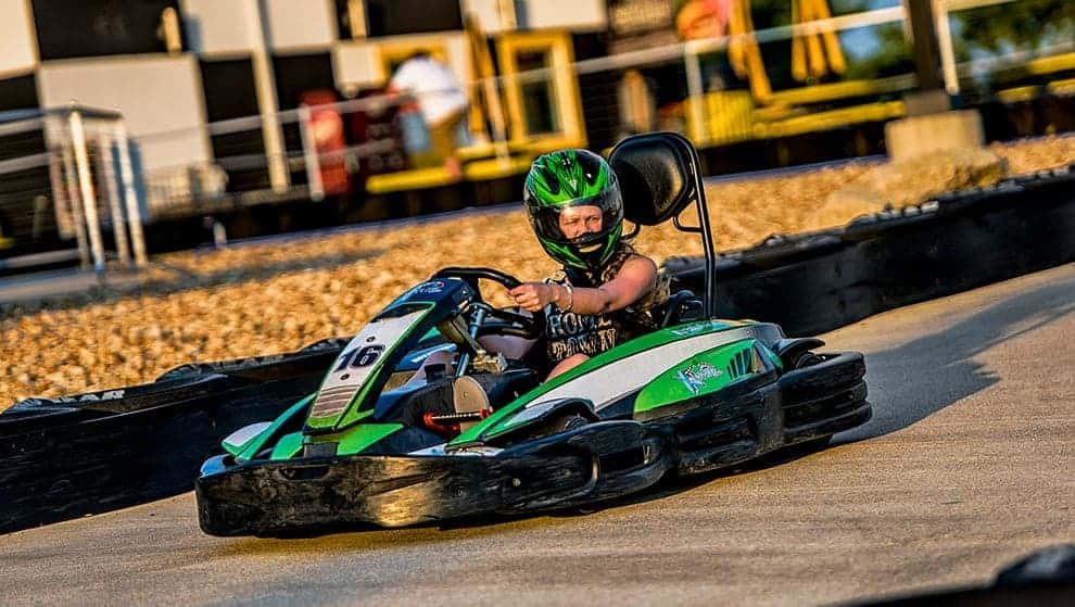 Helmets are included for go-kart races for your safety
