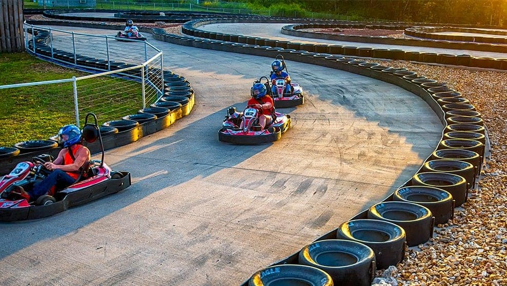 Our go-kart track includes lots of twists and turns